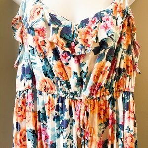 NWOT Torrid Sz 2 floral high-lo dress ruffles